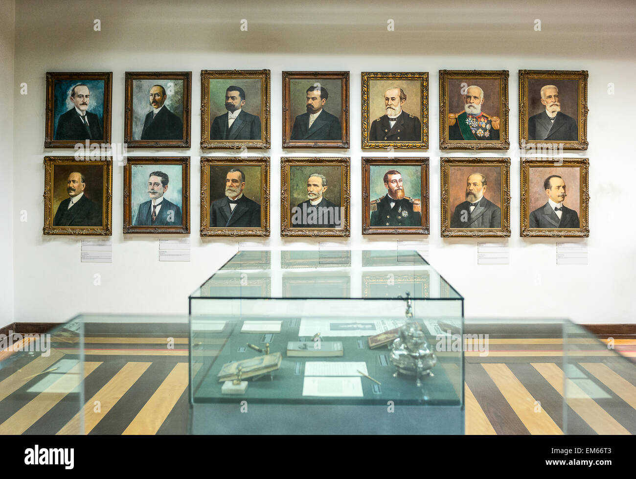 Brazil, Salvador, portraits of the State Governors in the Rio Branco palace - Stock Image