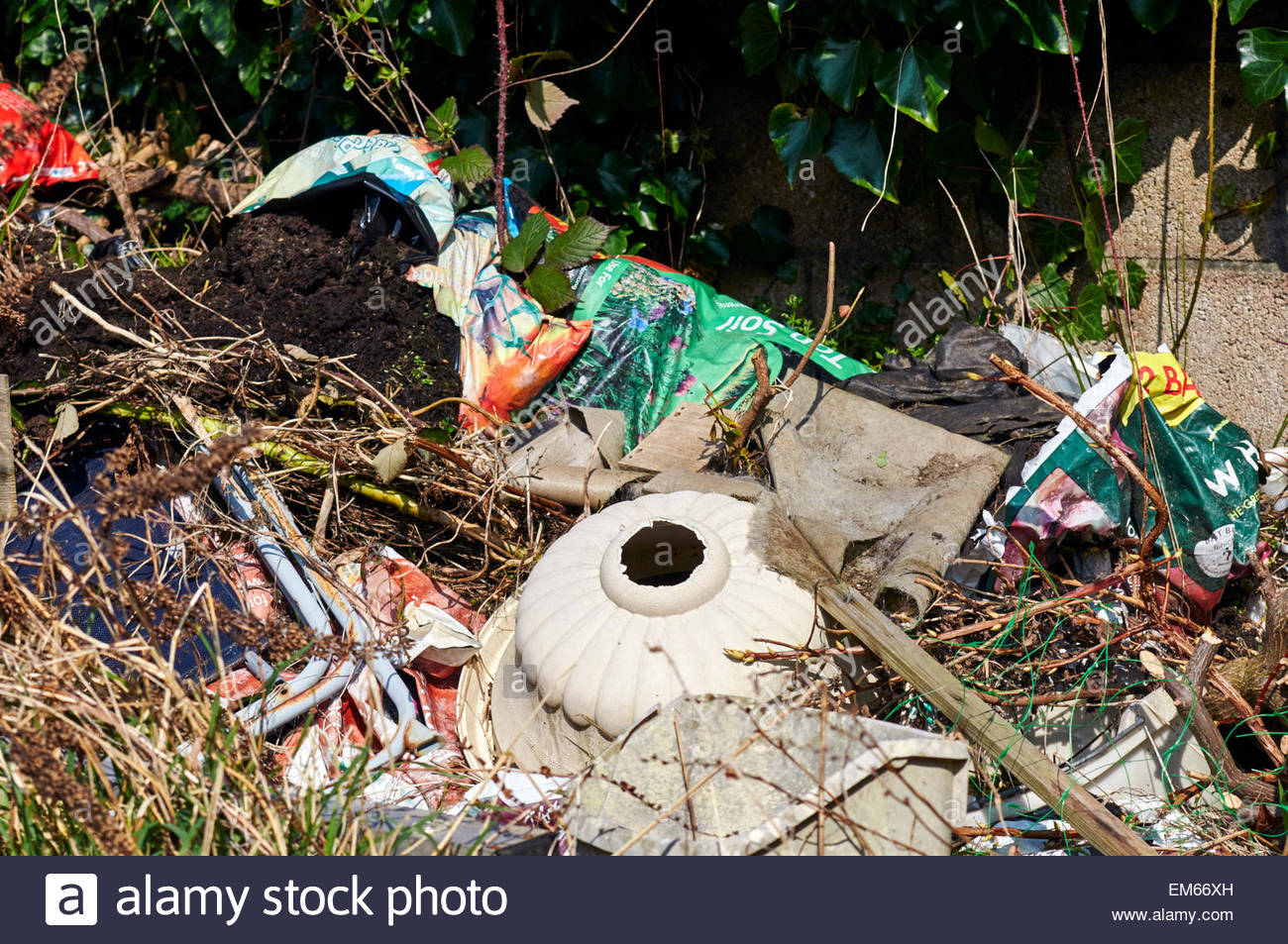 rubbish that has been dumped in the british countryside - Stock Image