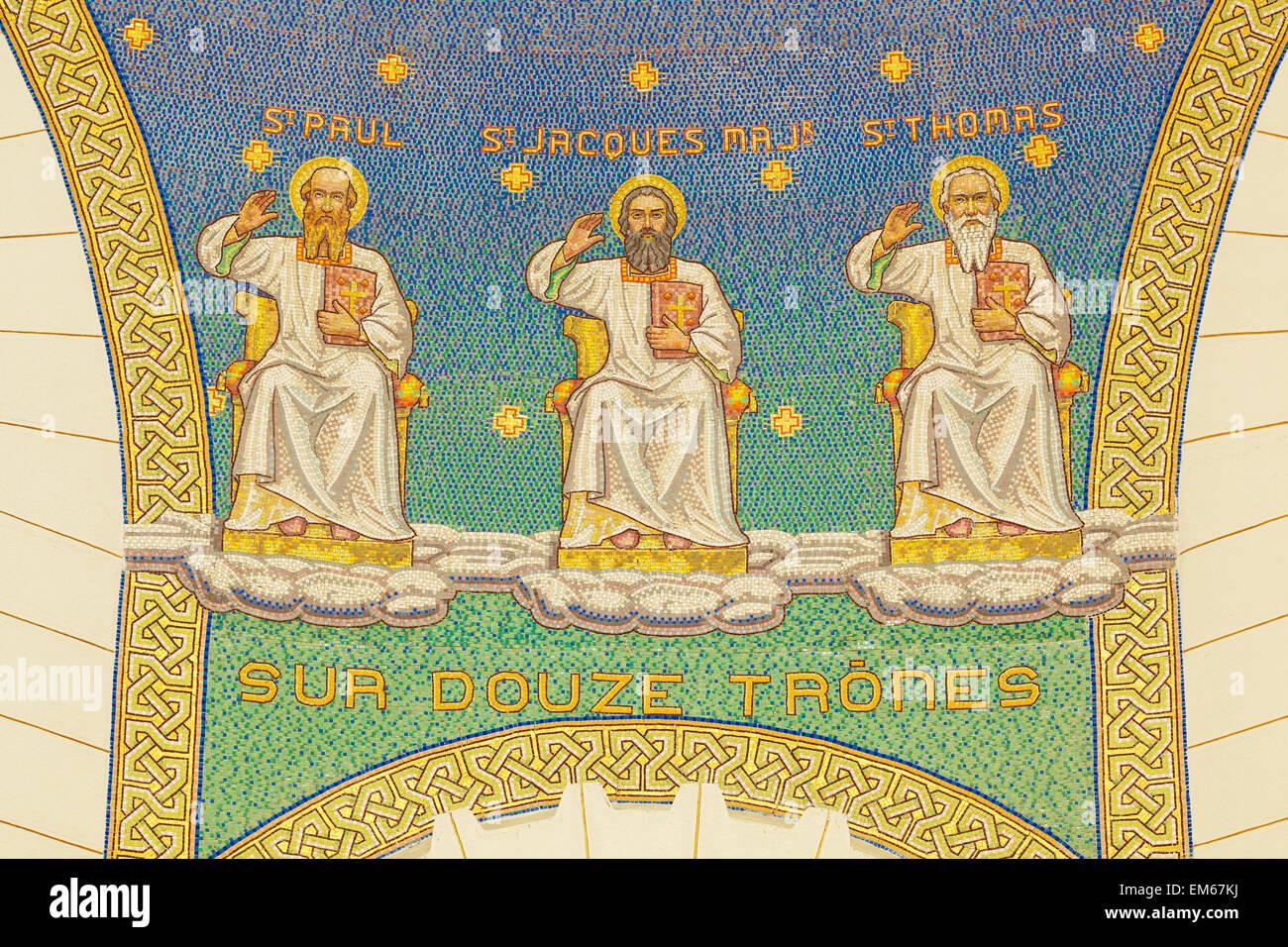 Israel, Close-up of mosaic in Church of St Peter; Gallicantu Stock ...