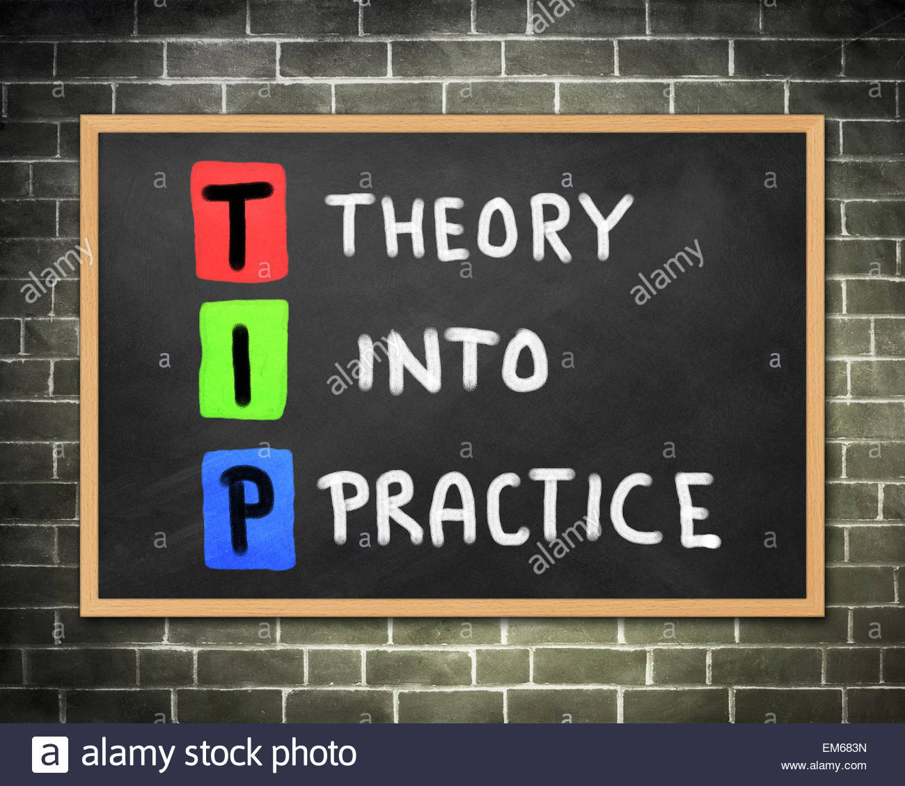 THEORY INTO PRACTICE - Stock Image