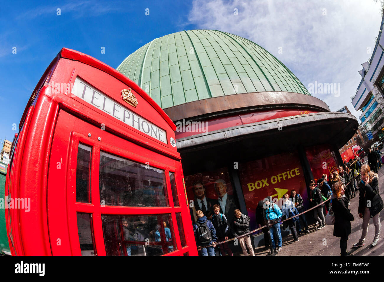 Madame Tussaud's and red telephone box, London - Stock Image
