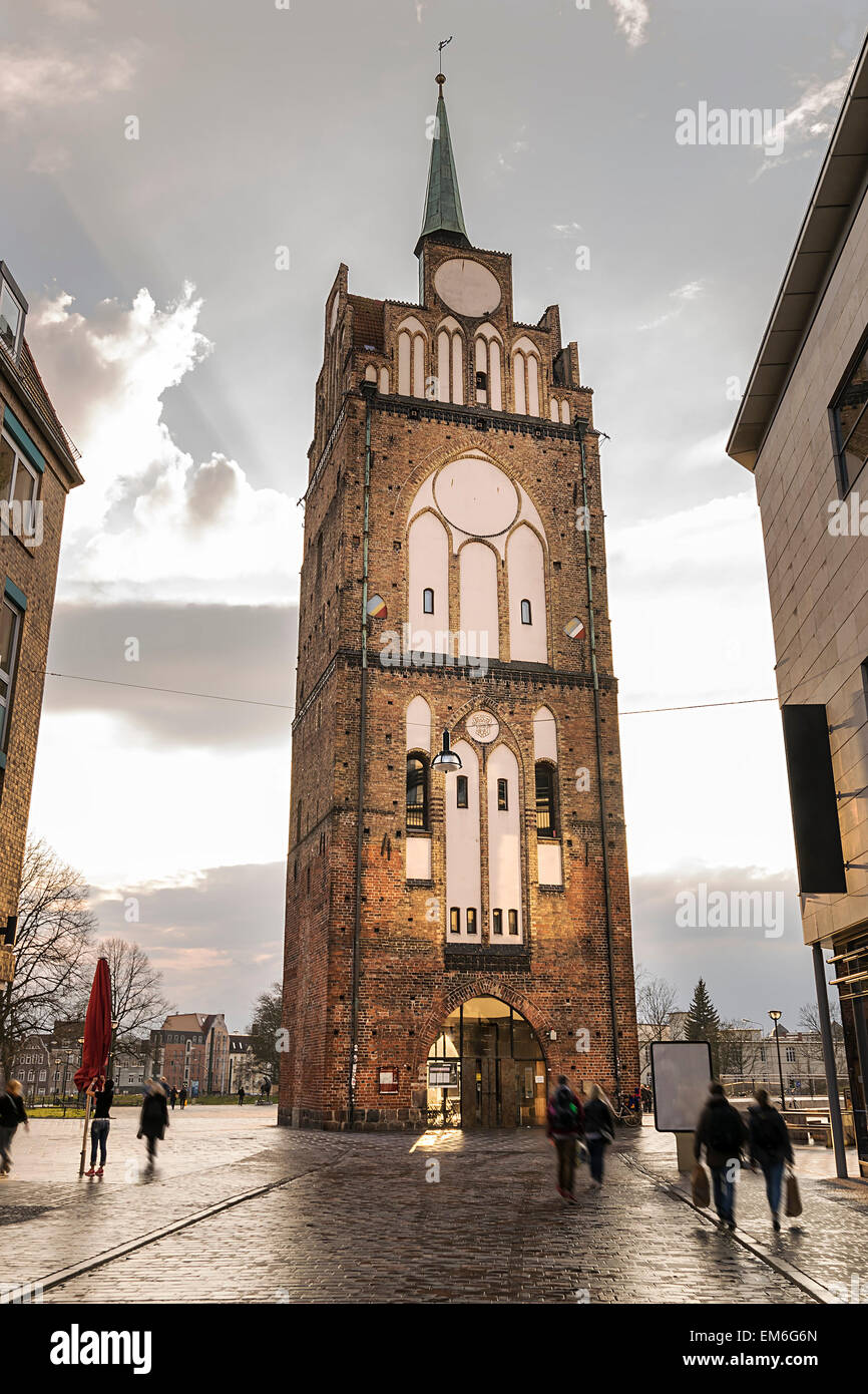 Image of historic Kropeliner gate in Rostock, Germany - Stock Image