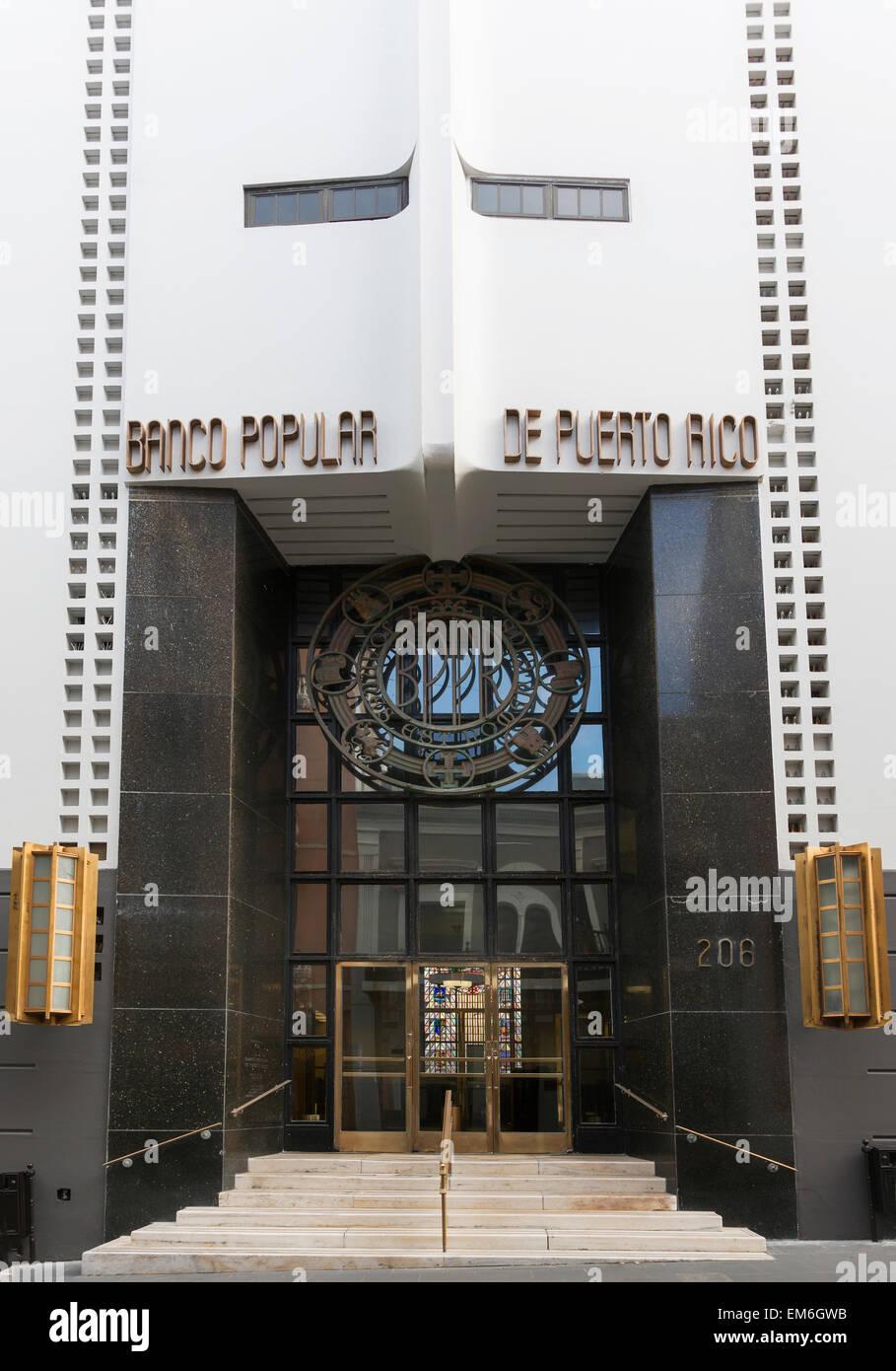 Entrance to headquarters Banco Popular of Puerto Rico. - Stock Image