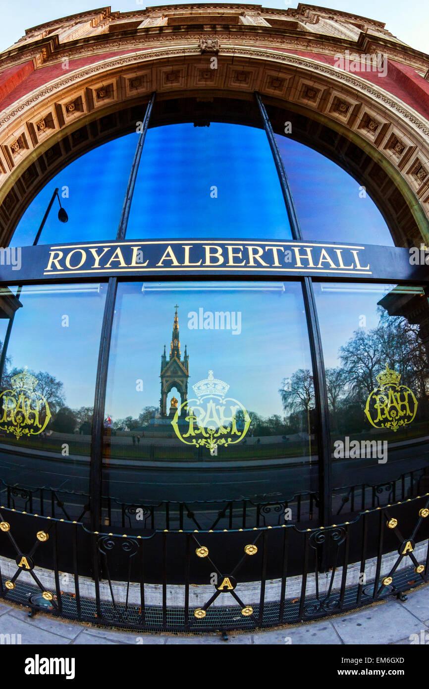 Royal Albert Hall with Reflection of Albert Memorial, London - Stock Image