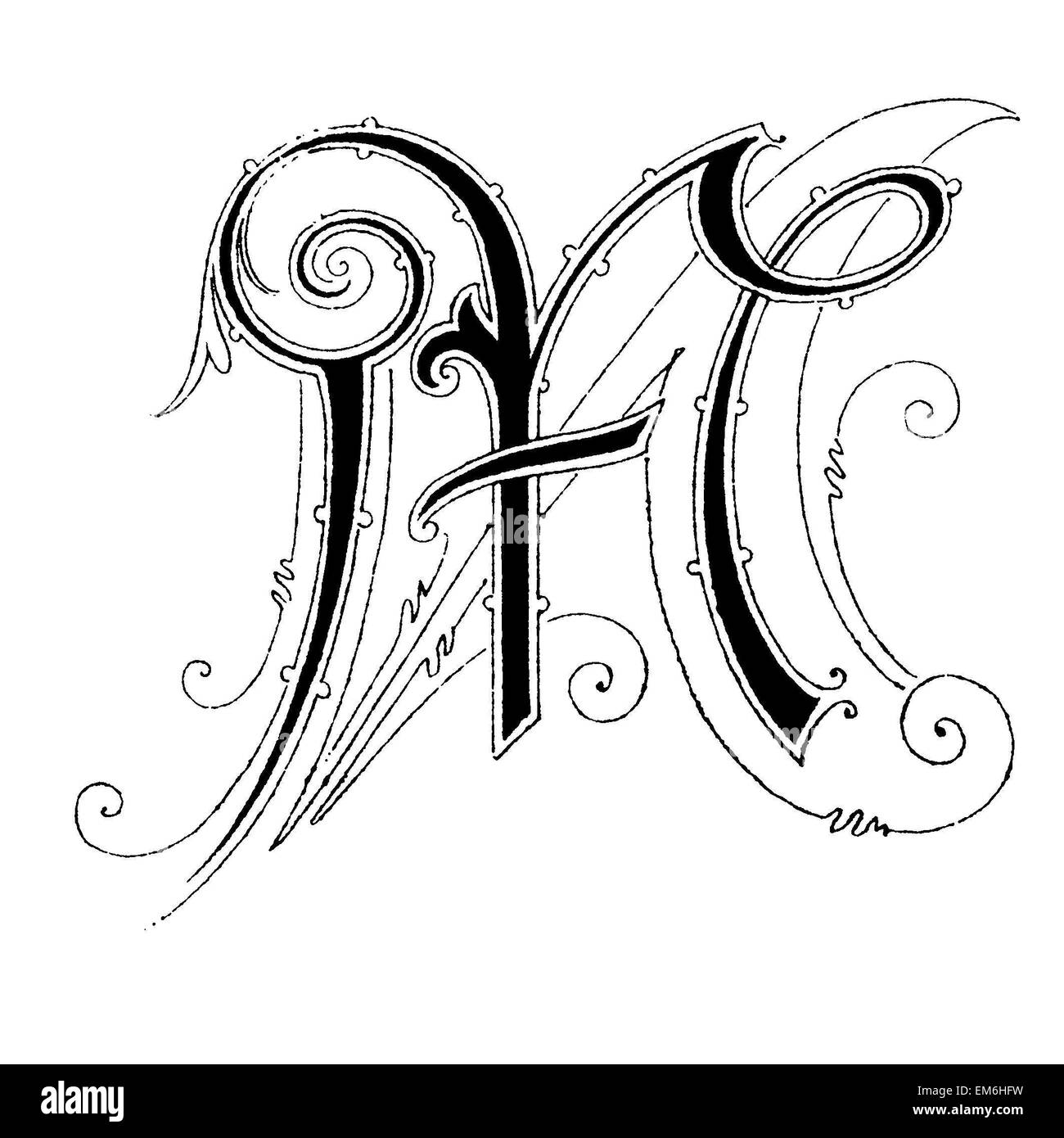 Letter M Font Art Nouveau Stock Photo 81280077 Alamy
