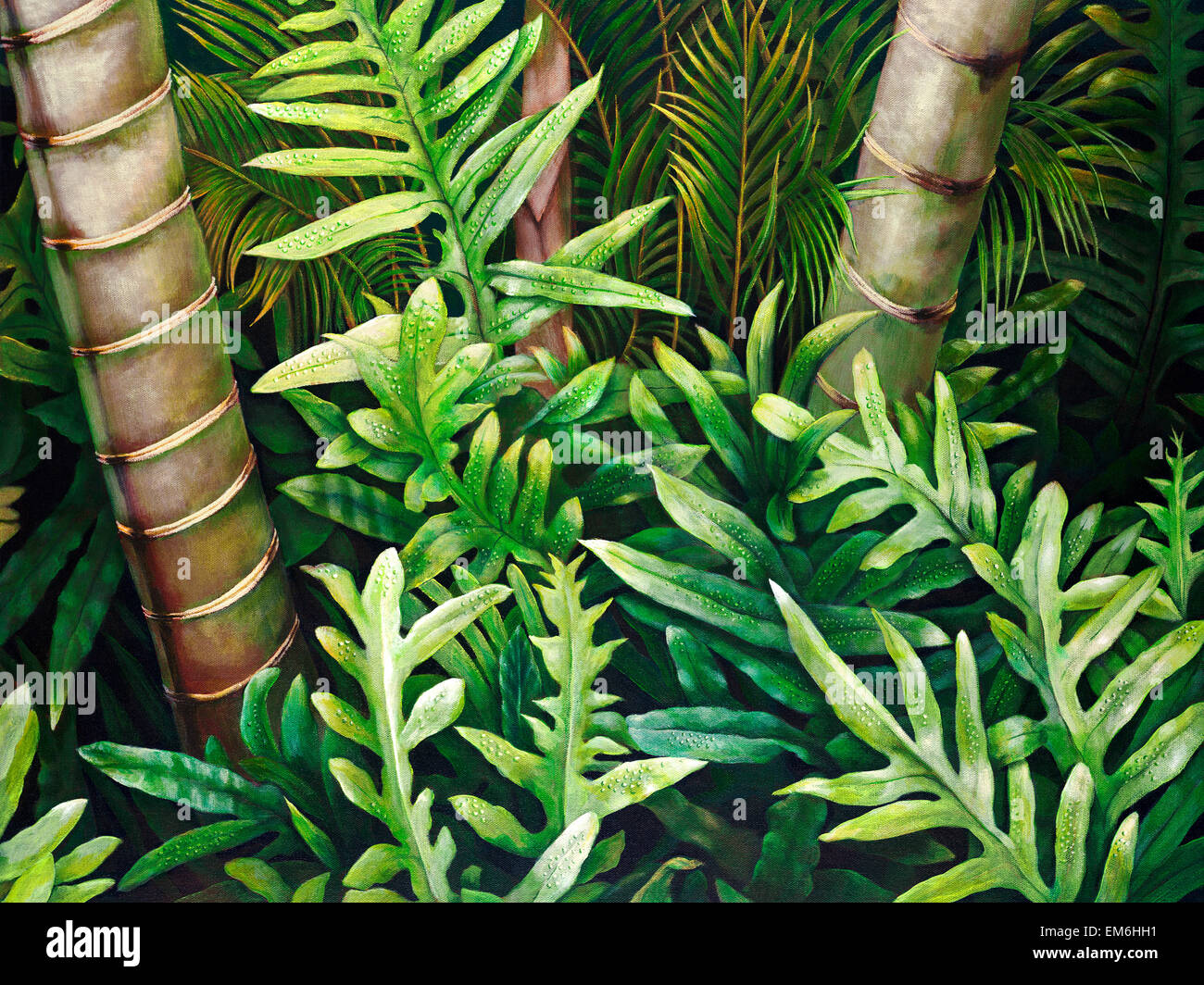 Well known Nahele, Ferns, Palms And Tree Trunks (Acrylic Painting Stock Photo  BQ19