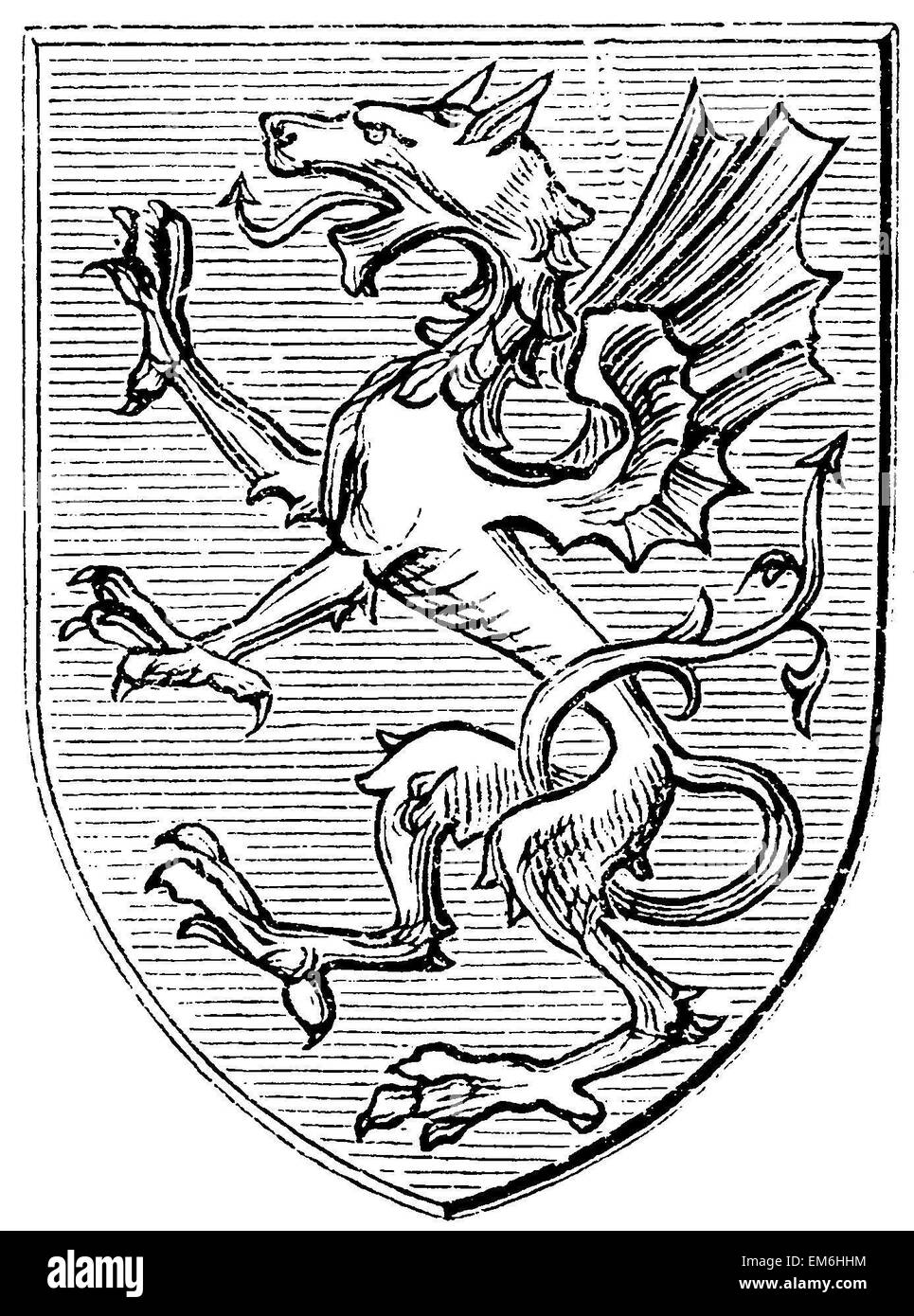 Heraldic Dragon from the later Middle Ages - Stock Image
