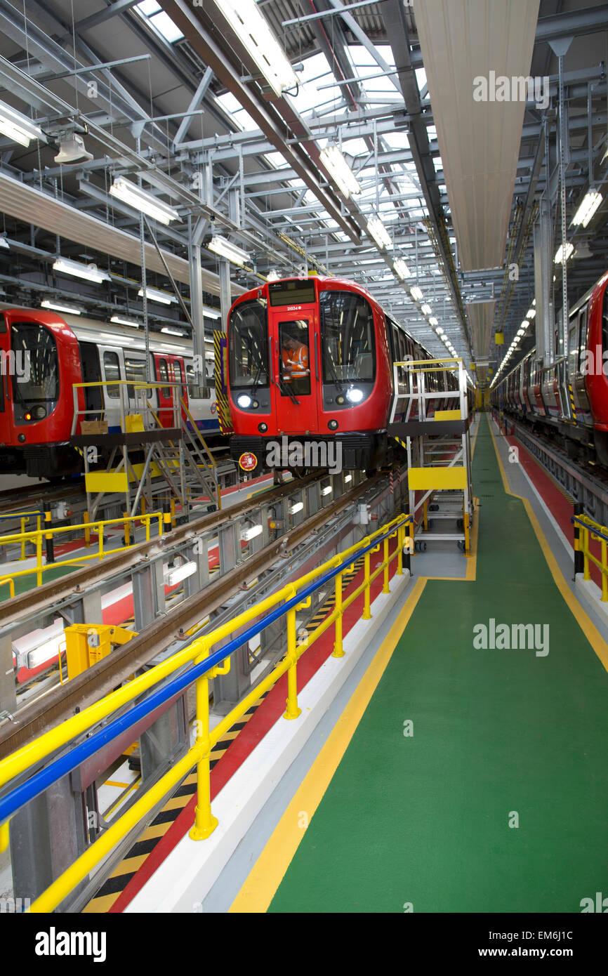 S8 Rolling Stock Neasden depot, London Underground, Transport for London - Stock Image