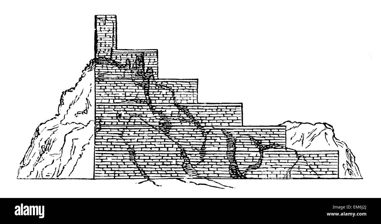 Hill Birs Nimrud at Babylon with the ruins of the tower of Bel, Reconstruction after Layard Stock Photo
