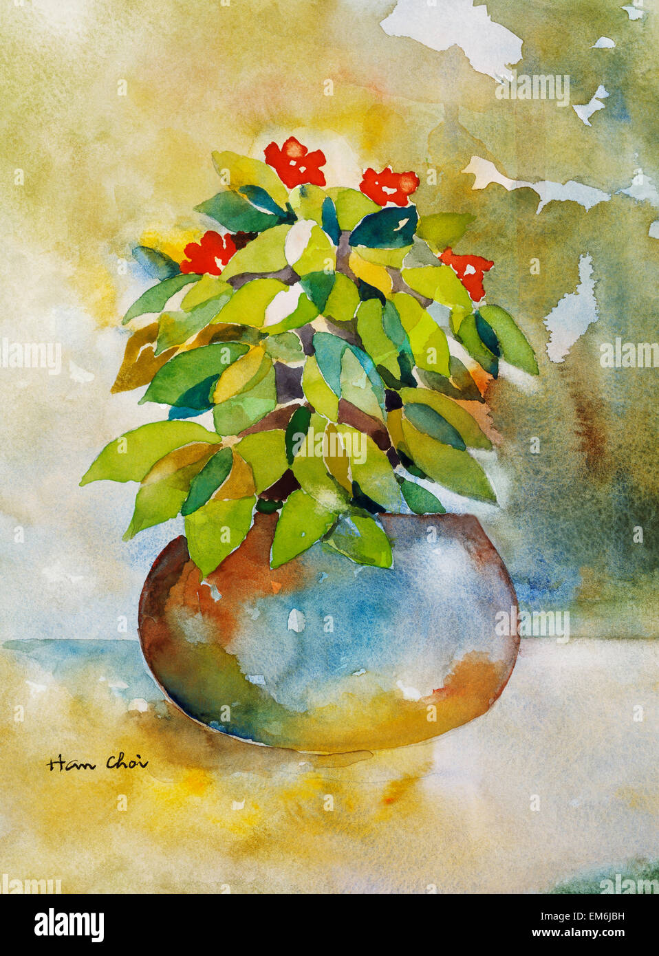 Happiness, Colorful Potted Plant (Watercolor Painting Stock Photo ...
