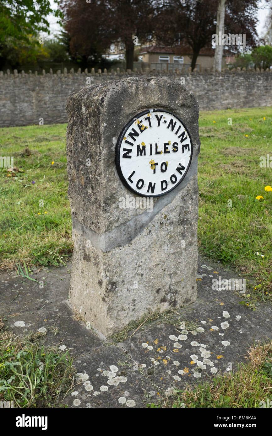 Ninety Nine Miles to London Milestone Marker - Stock Image