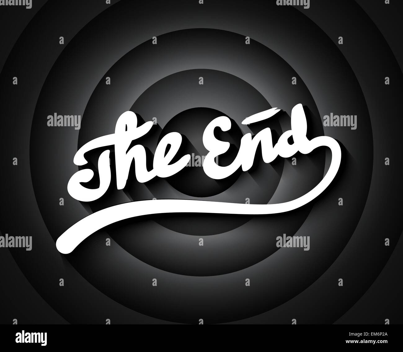 Old movie ending screen with black and white gradient circles background, stylized noir The End lettering - Stock Vector