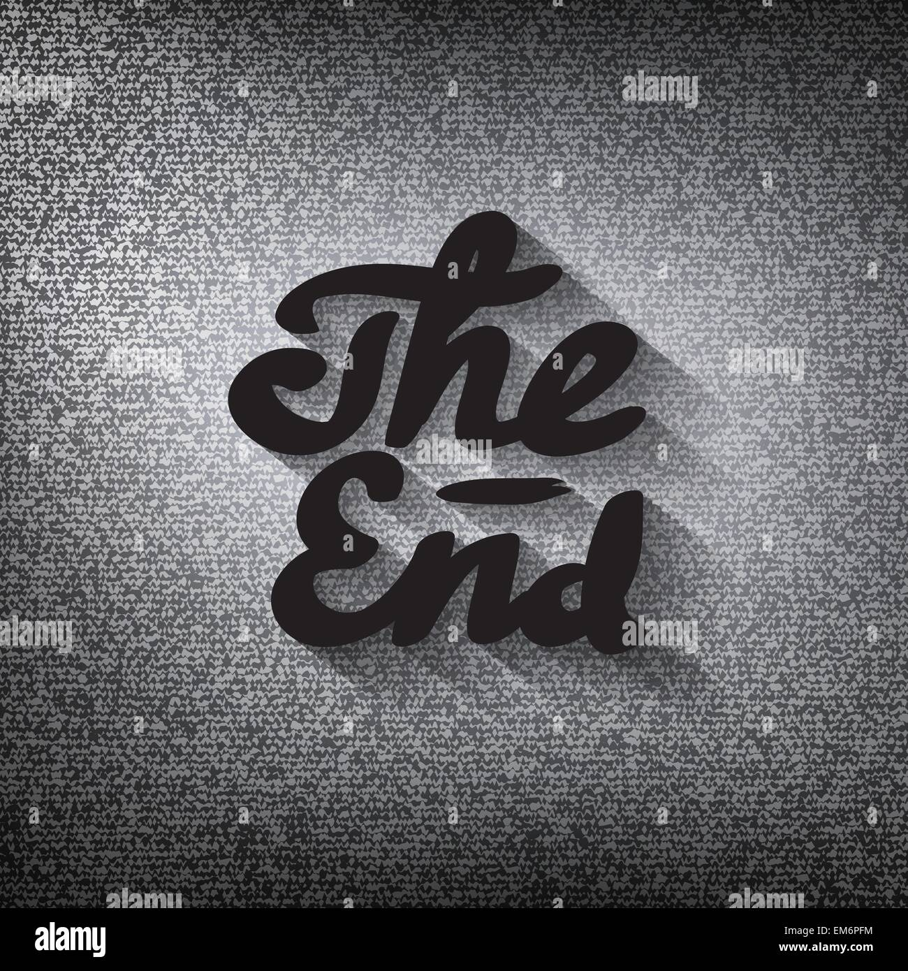 Old movie ending screen, stylized noir 'The End' lettering - Stock Vector
