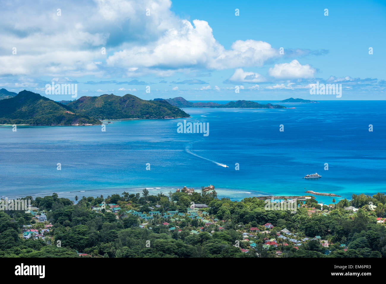 Panorama of La Digue island from Nid d'Aigle viewpoint, Seychelles - Stock Image