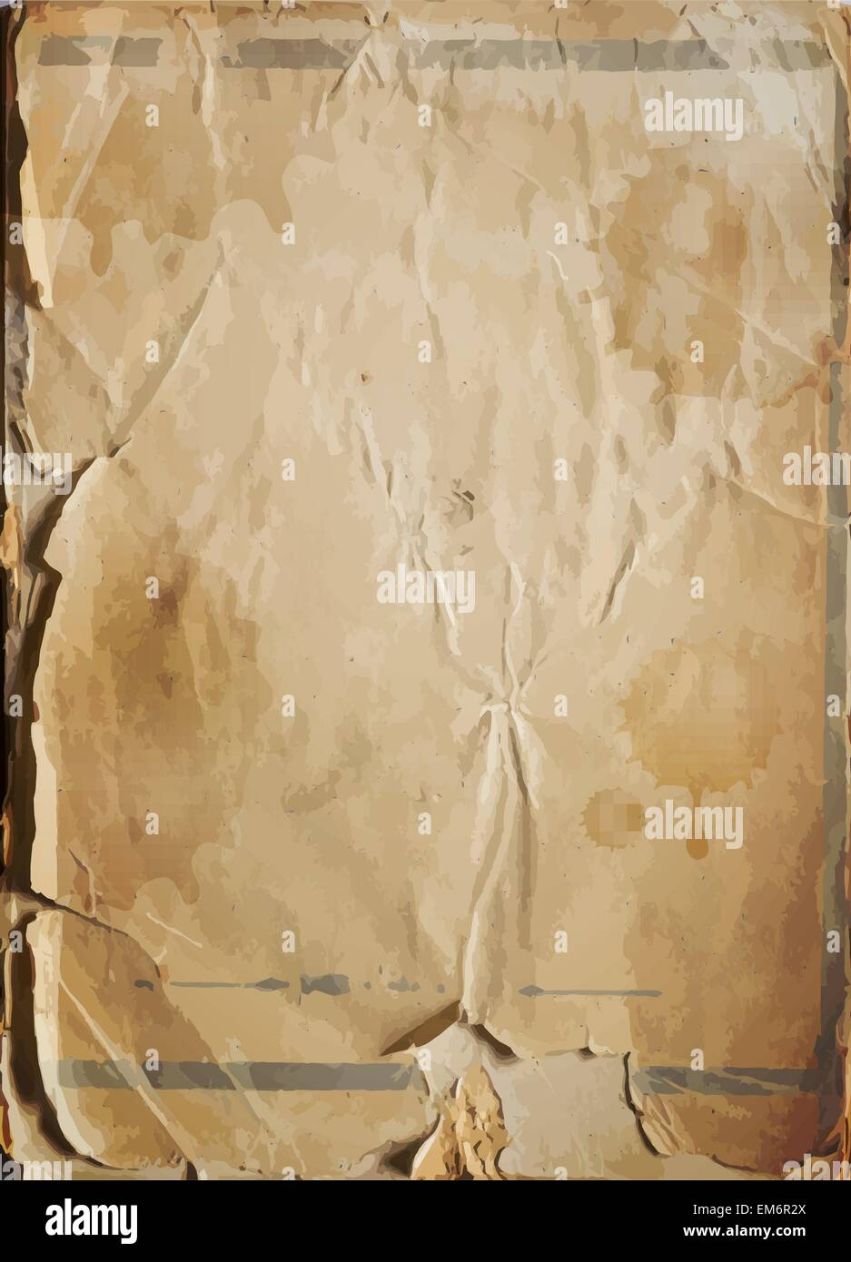 Old damaged antique paper texture, vector background - Stock Image
