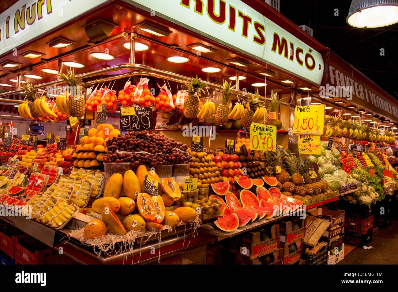 La Boqueria, fresh fruits. World famous Barcelona market Spain Europe - Stock Image