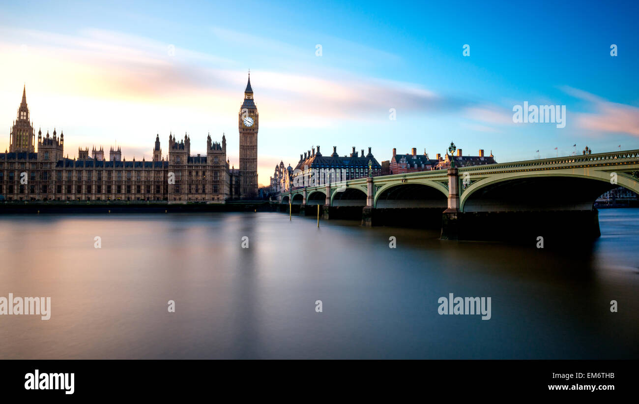Big Ben is the nickname for the Great Bell of the clock also known as Clock Tower and Elizabeth Tower. - Stock Image