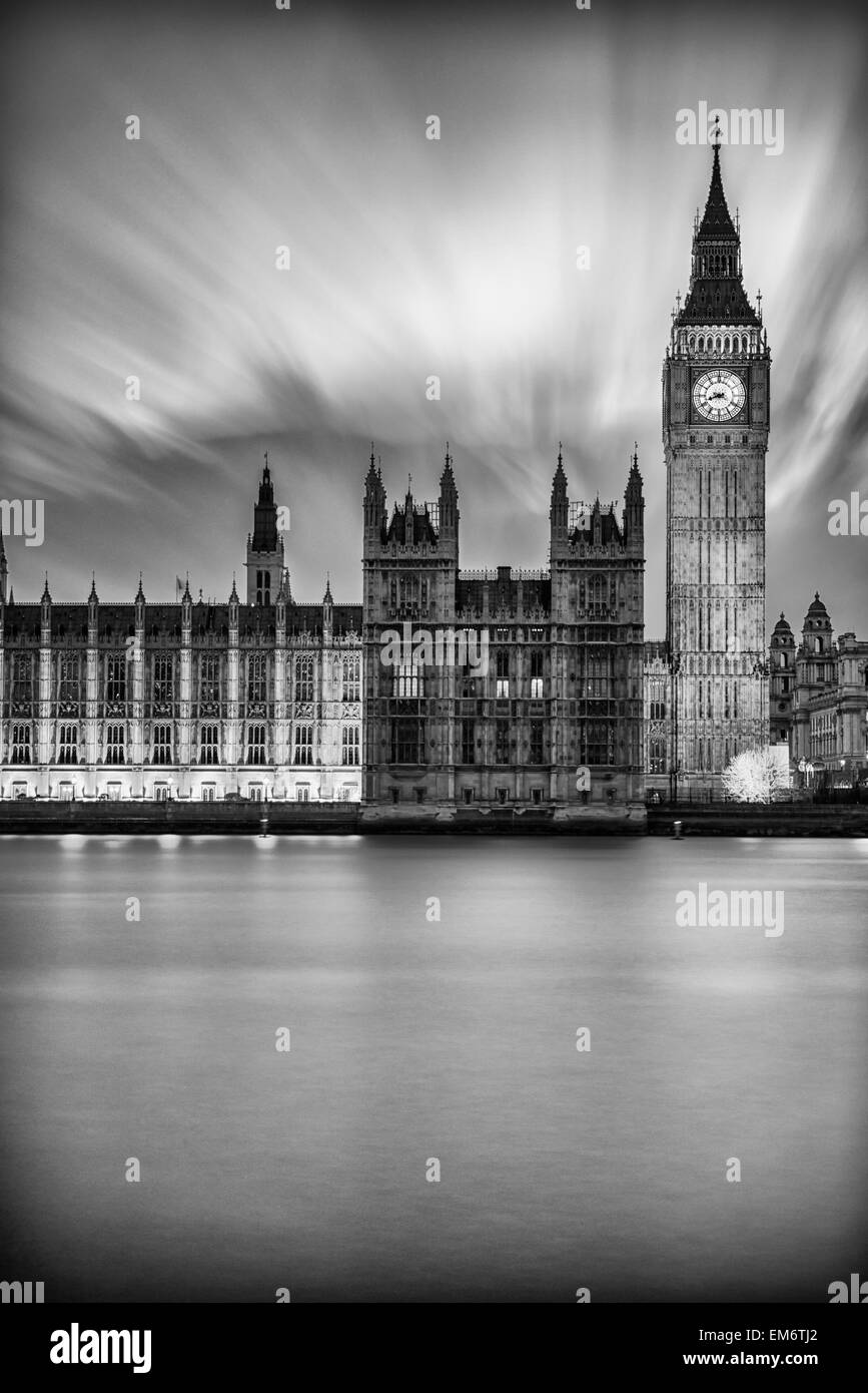 Black and white photograph of Big Ben.   London is truly magical just after the sunset at the twilight hour. Its - Stock Image