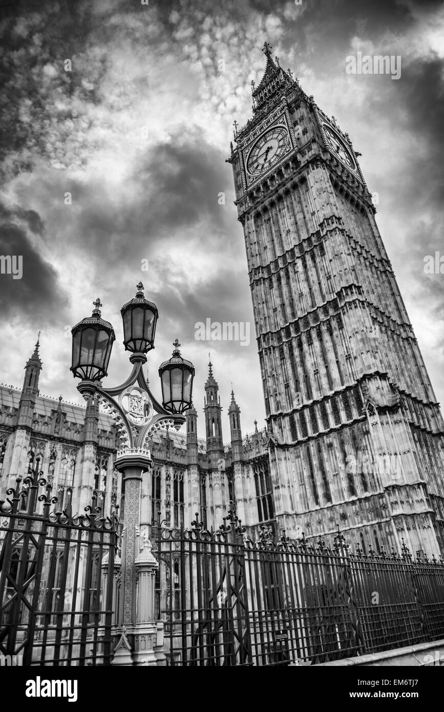 Big Ben and the golden and green lamp post. London is truly magical city in England. Its timeless architecture stands Stock Photo