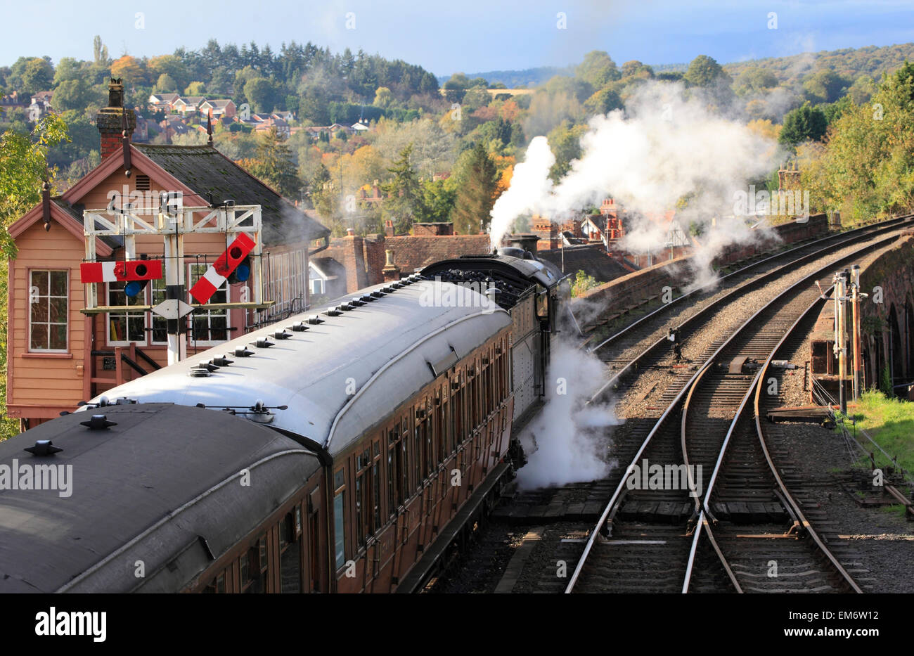 Ready to depart a passenger train prepares to head into the Severn Valley, Bewdley, Severn Valley Railway, Worcestershire, - Stock Image