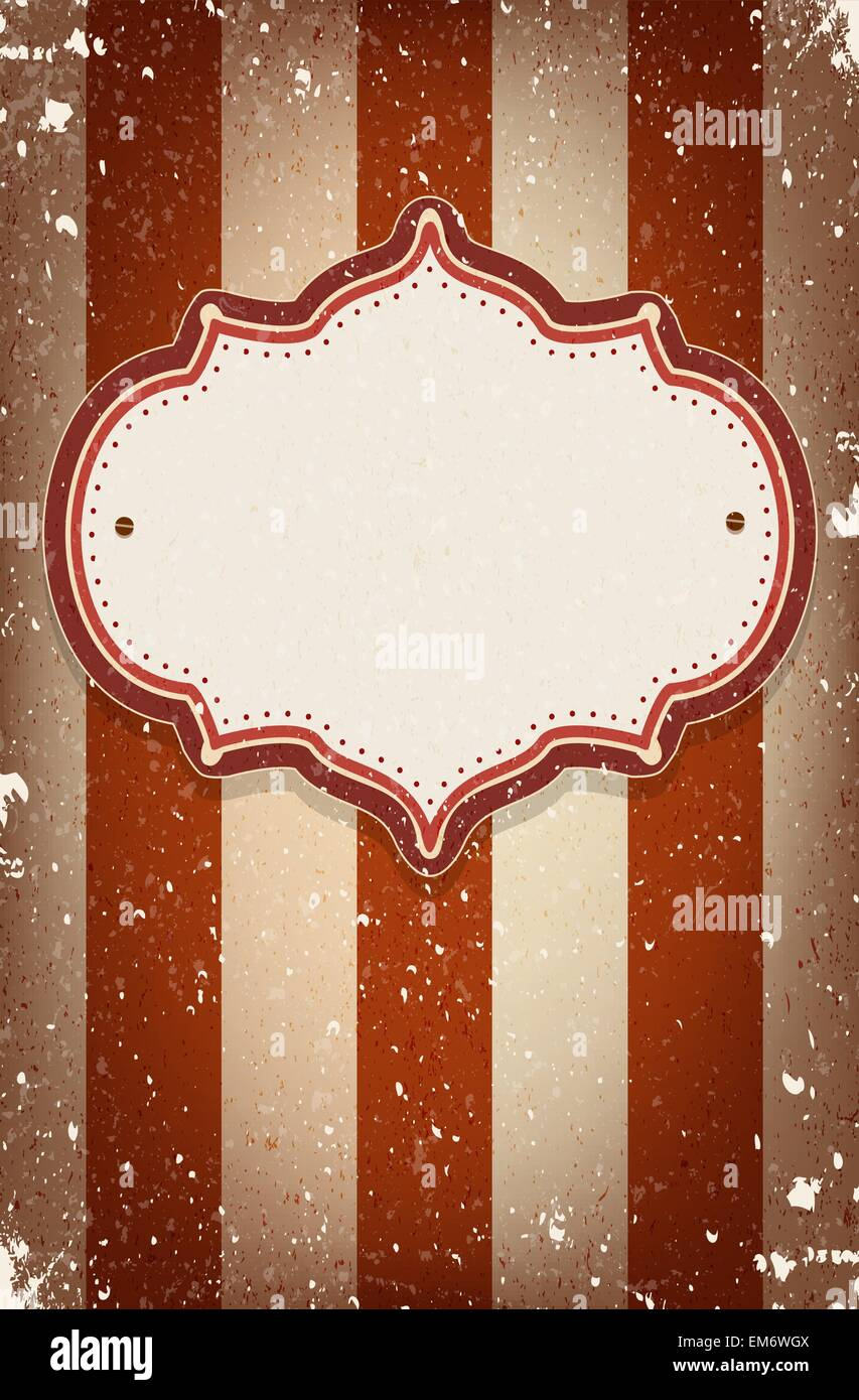 Vintage vector circus inspired frame on striped background with a space for your text - Stock Vector