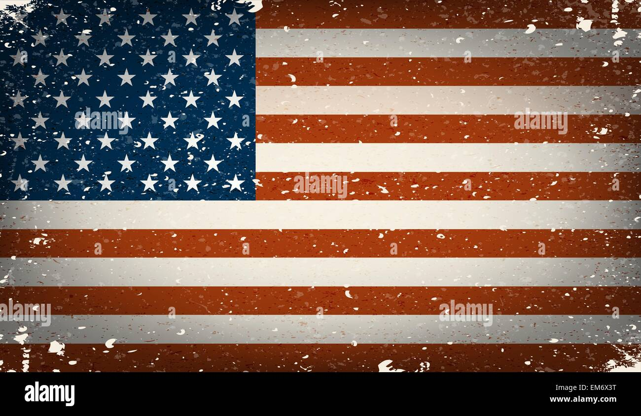 Grunge worn out vector american flag ( Independence day background ) - Stock Vector