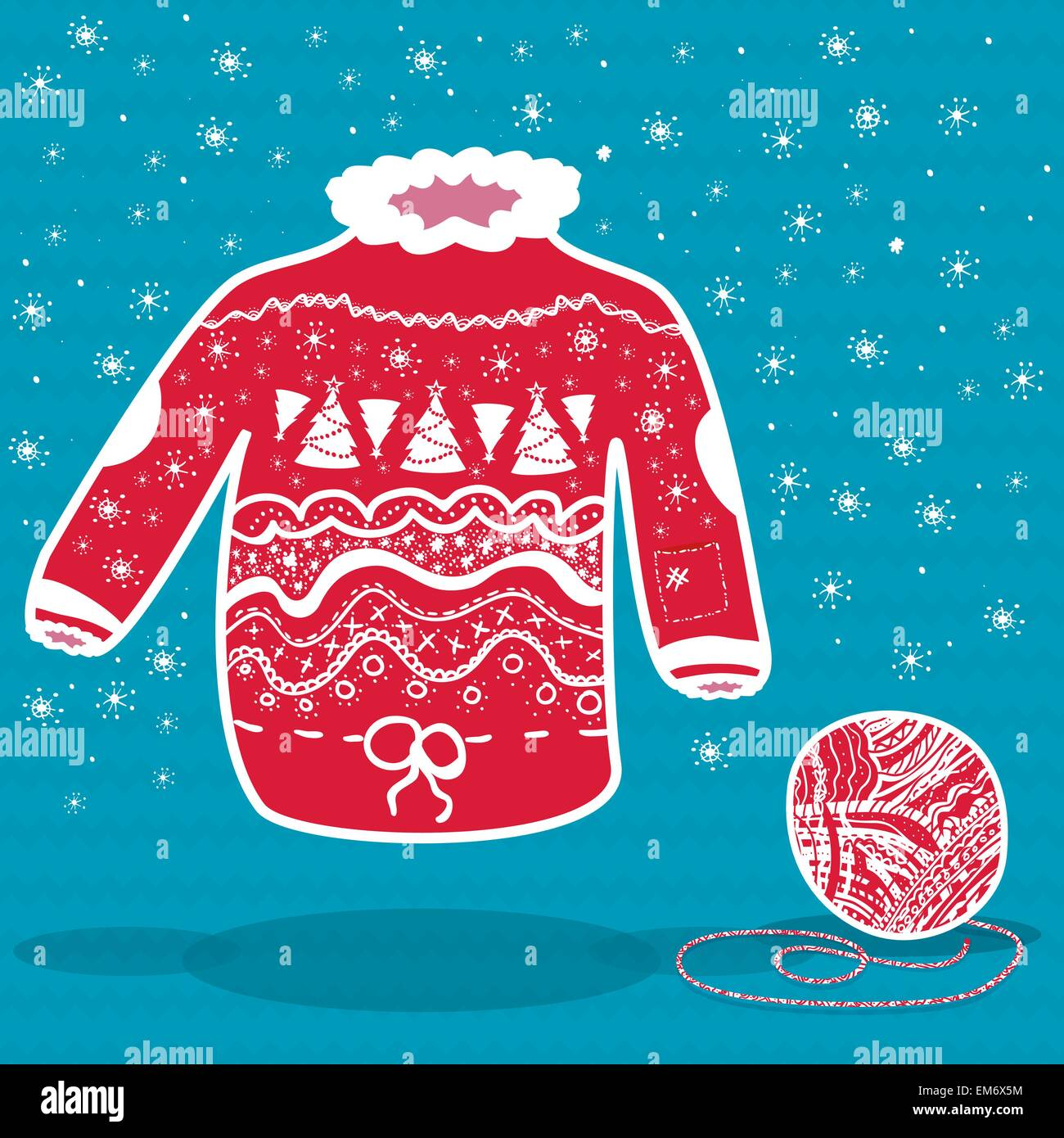 Christmas Sweater Background.Red Knitted Christmas Sweater And A Ball Of Yarn On Blue
