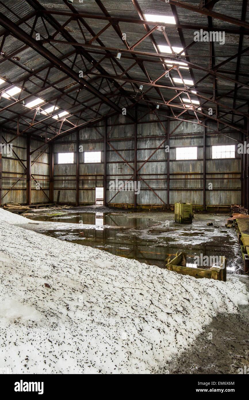 ruined aircraft hangar, Whaler's Bay, Deception Island, Antarctica Stock Photo