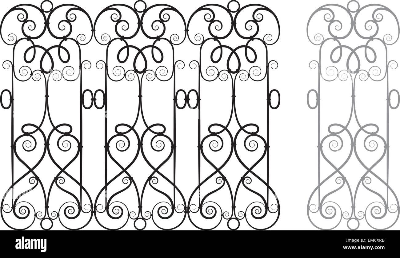Modular Wrought Iron Railing or Fence - Stock Image