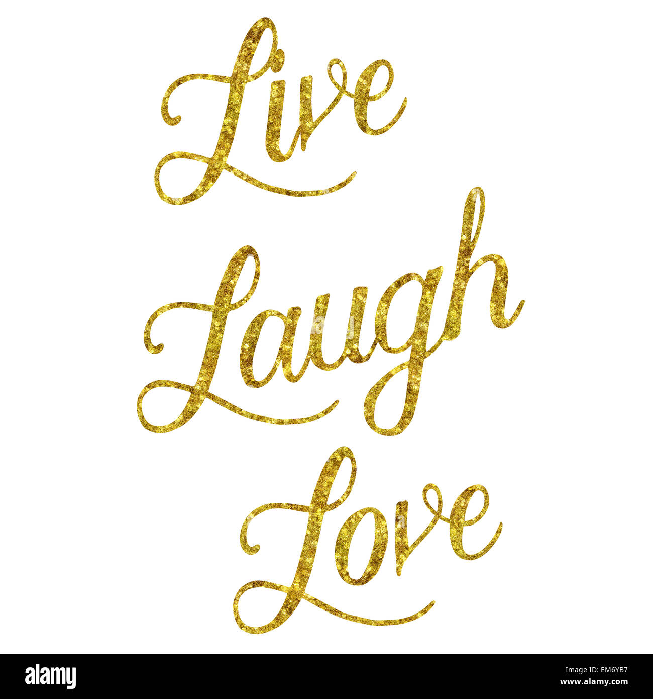 Glittery Gold Faux Foil Metallic Inspirational Live Laugh ...