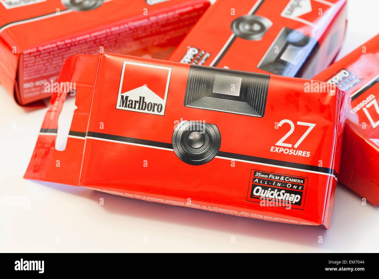 Marlboro cigarette promotional disposable camera - USA - Stock Image