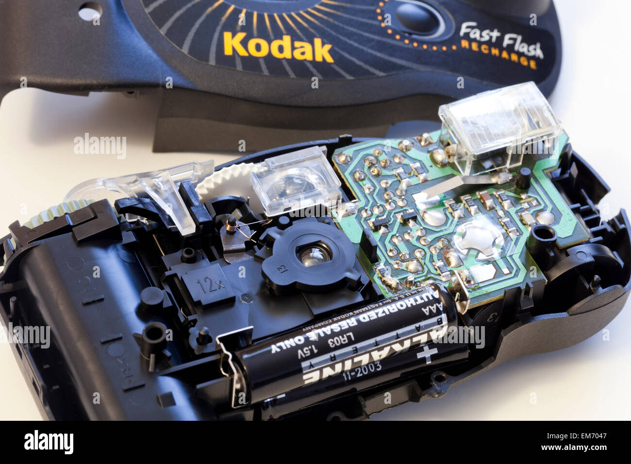 Disassembled Kodak Advantix APS disposable camera - USA - Stock Image