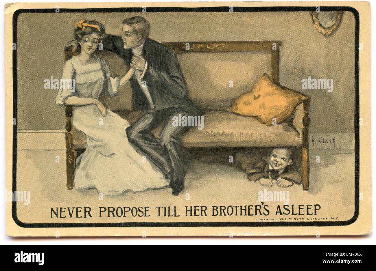 Vintage postcard of marriage proposal - Stock Image