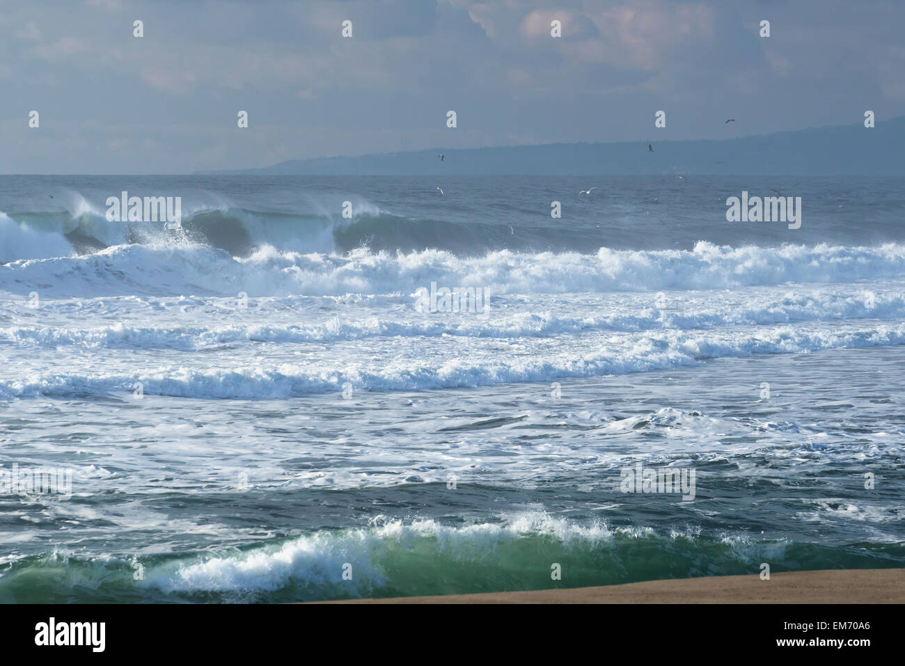 Breaking waves at Moss Landing State Beach, Moss Landing; Monterey Bay, California, United States of America Stock Photo