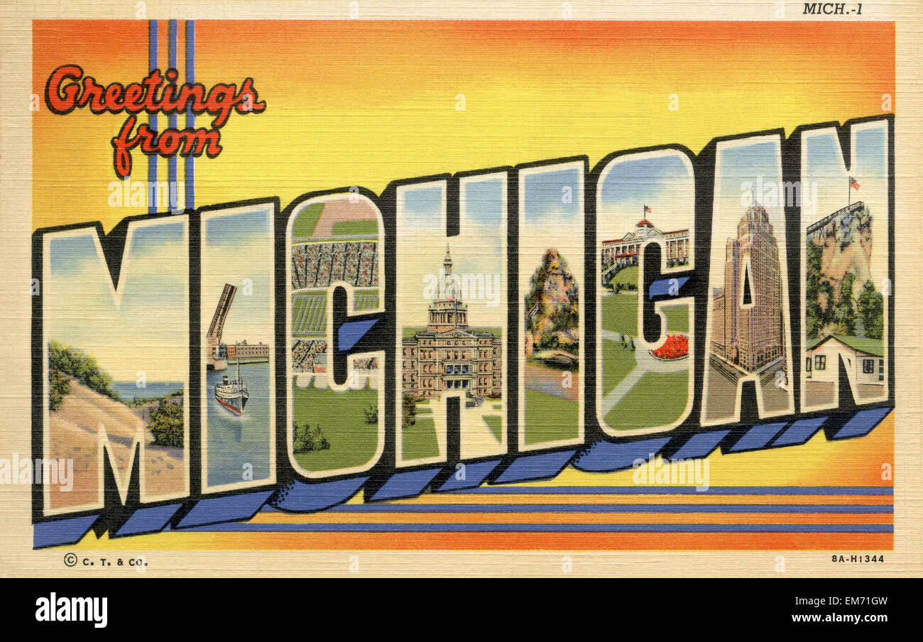 Postcard vintage michigan stock photos postcard vintage michigan large letter greetings from michigan state name vintage postcard ca 1930s 1940s m4hsunfo
