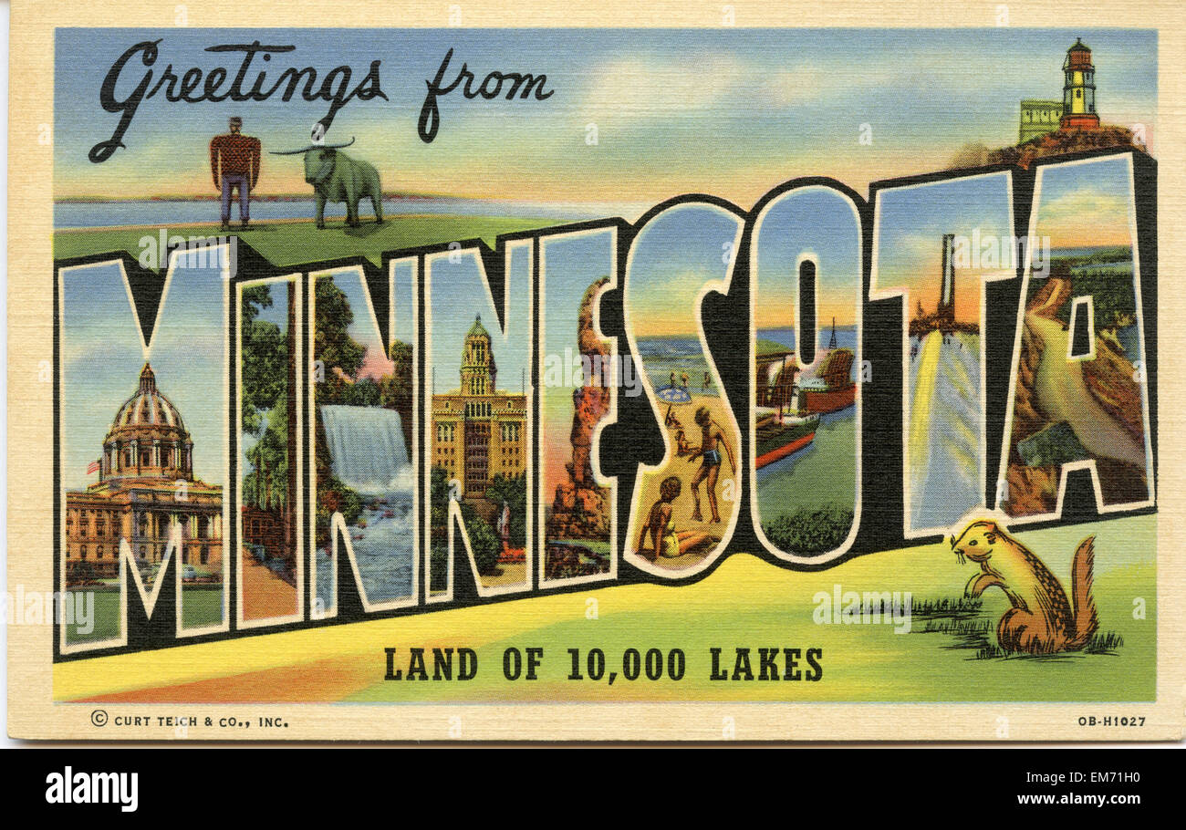 Large letter 'Greetings from Minnesota ' state name vintage postcard ca. 1930's-1940's - Stock Image