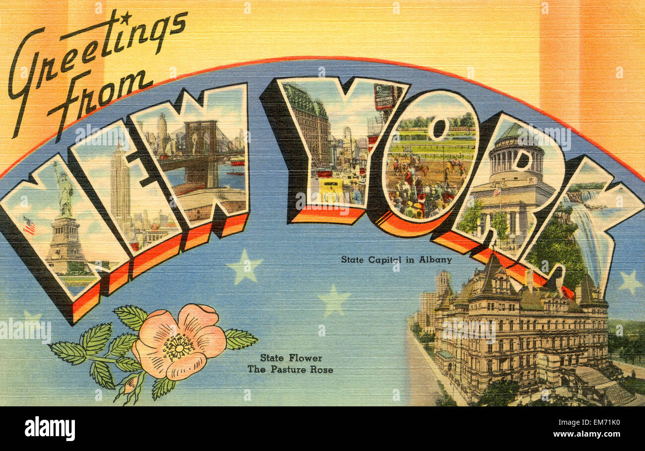 Greetings from new york postcard stock photos greetings from new large letter greetings from new york state name vintage postcard ca 1930s m4hsunfo