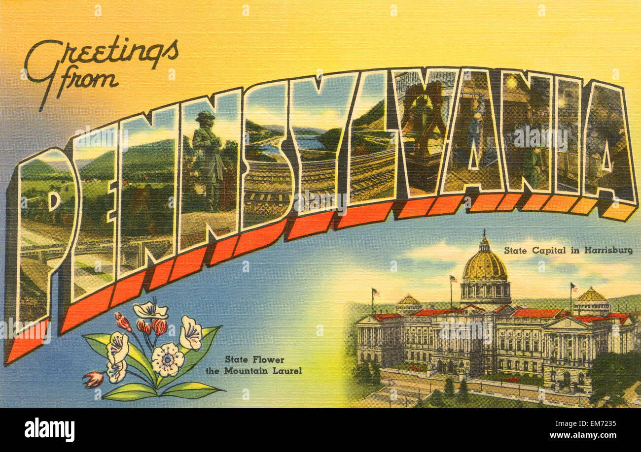 Large letter greetings from pennsylvania state name vintage stock large letter greetings from pennsylvania state name vintage postcard ca 1930s 1940s m4hsunfo