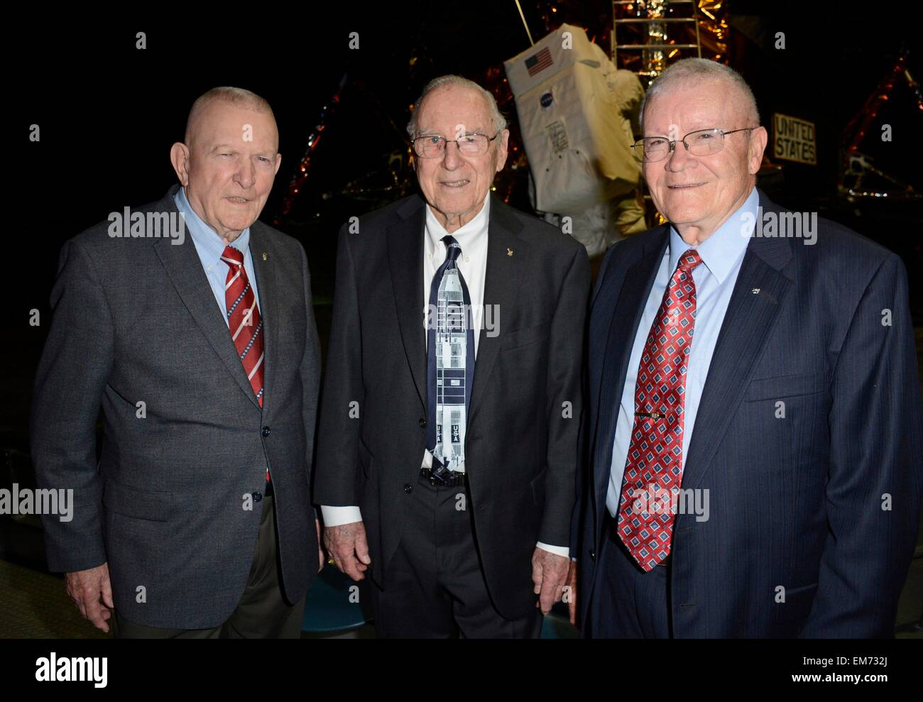 Garden City, NY, USA. 16th Apr, 2015. Gene Kranz, Jim Lovell, Fred Haise in attendance for Apollo 13 45th Anniversary - Stock Image