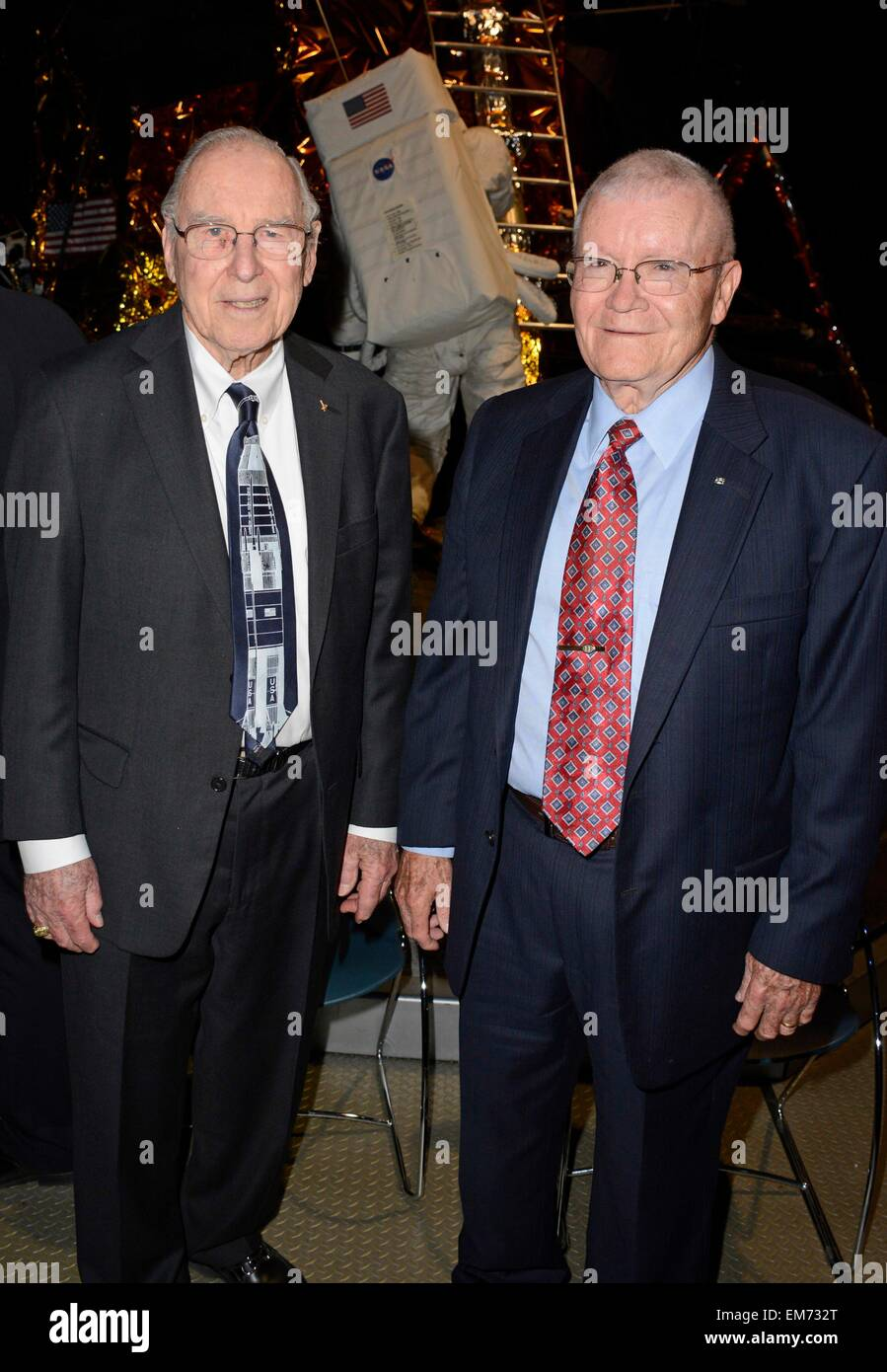 Garden City, NY, USA. 16th Apr, 2015. Jim Lovell, Fred Haise in attendance for Apollo 13 45th Anniversary Reunion - Stock Image