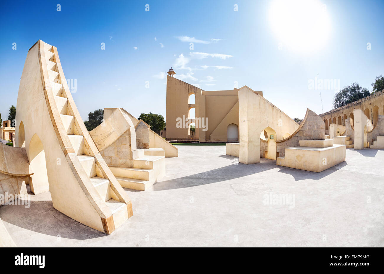 Jantar Mantar observatory complex at blue sky in Jaipur, Rajasthan, India - Stock Image