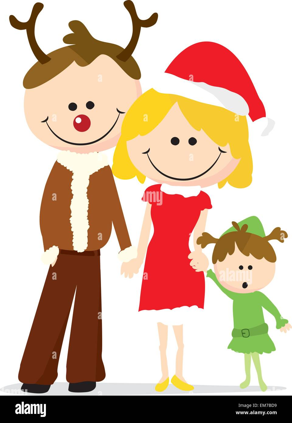 christmas family cartoon - Stock Vector