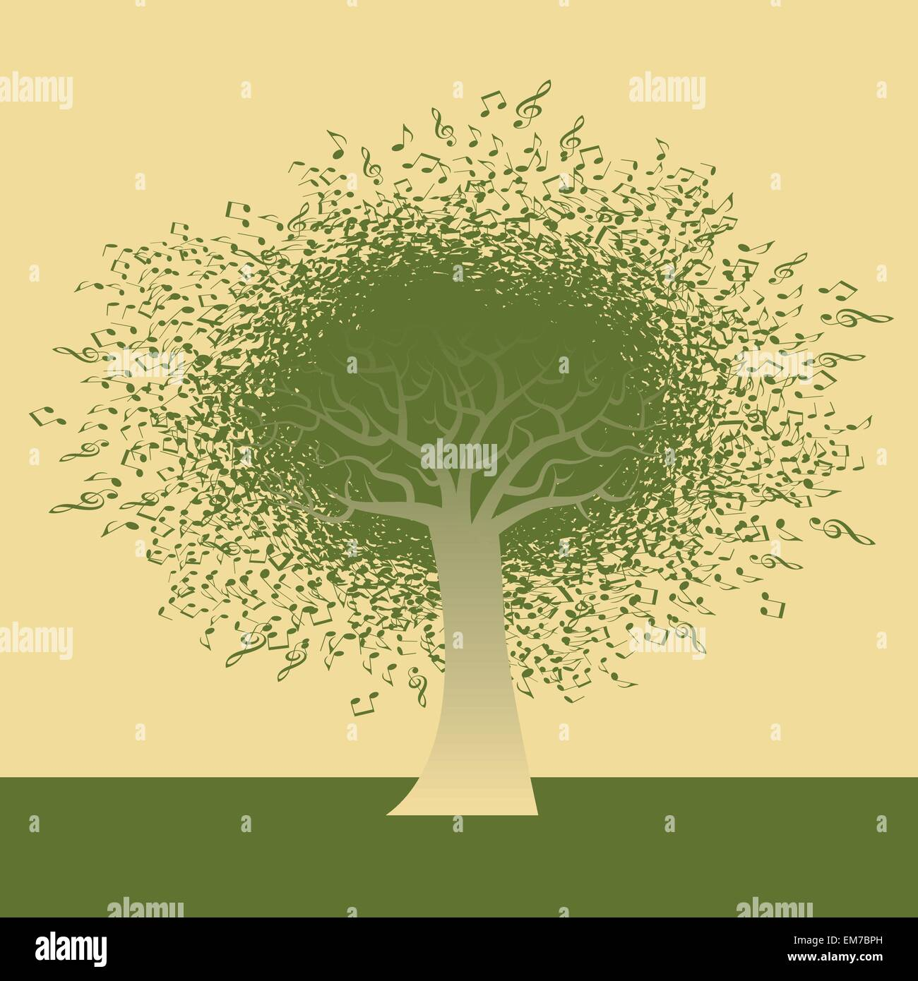 Abstract Musical Note Tree Stock Vector Art & Illustration, Vector ...