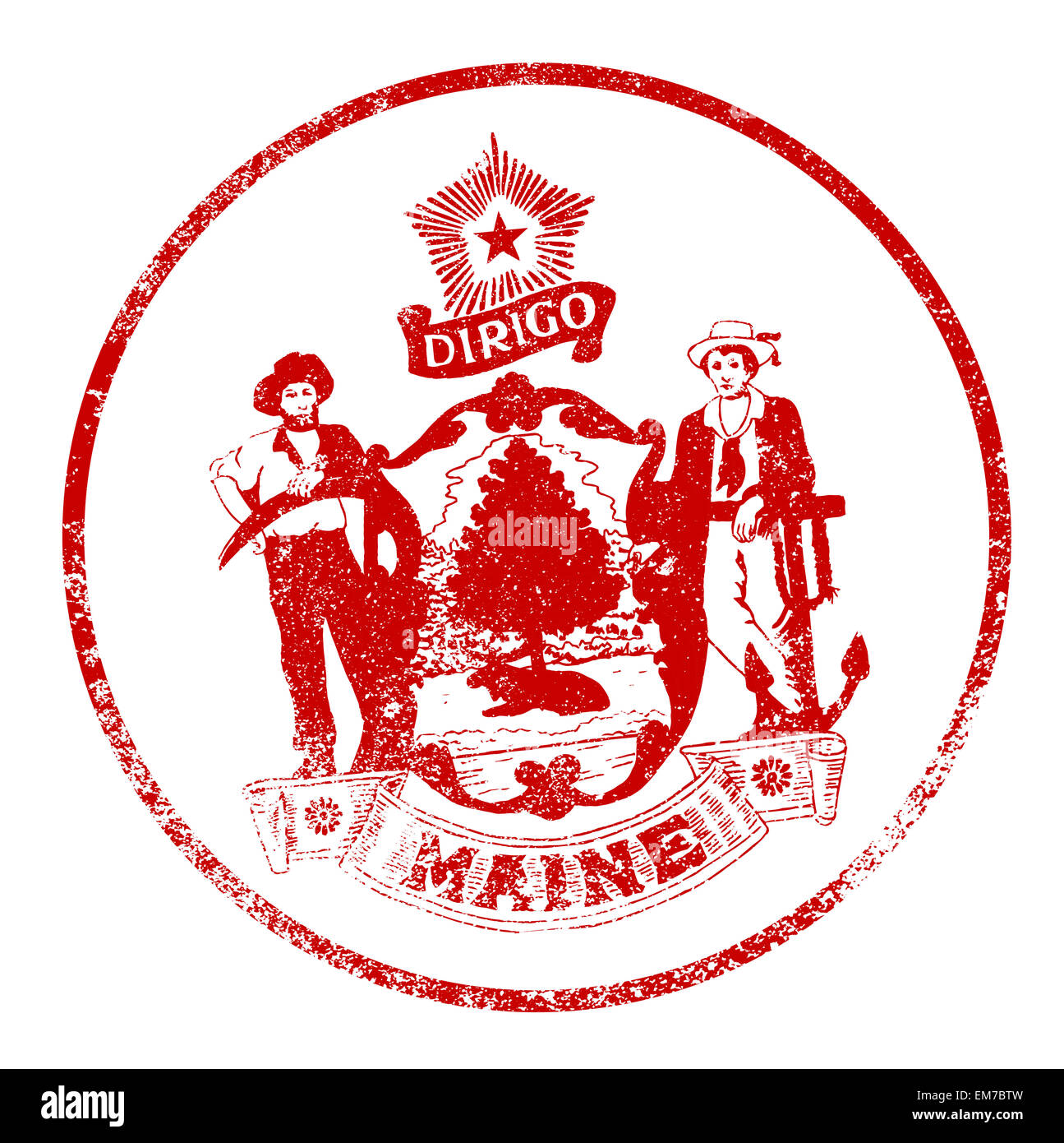 The State Seal Of Maine Rubber Stamp On A White Background Stock Photo Alamy