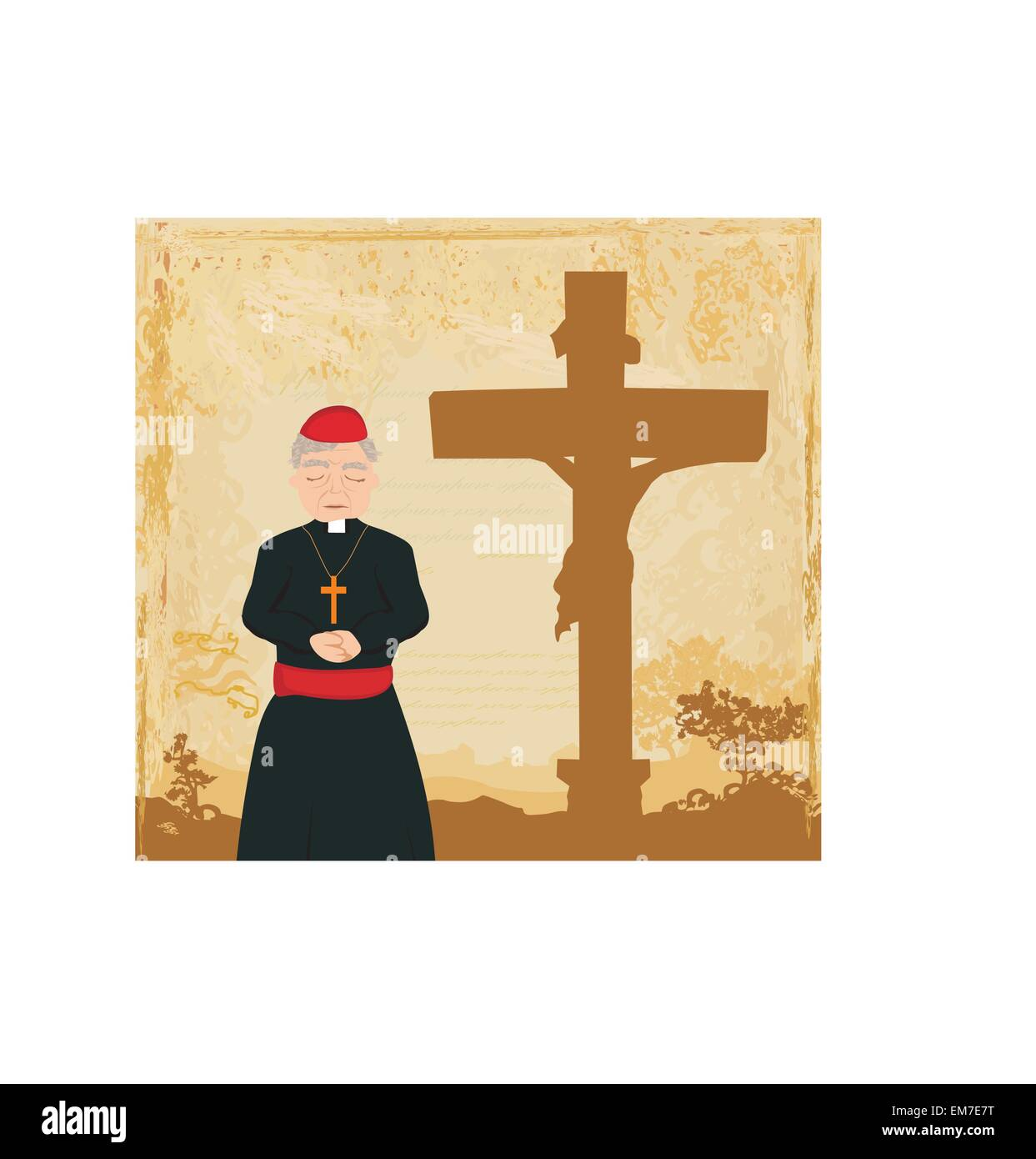 priest prays by the cross, grunge background Stock Vector