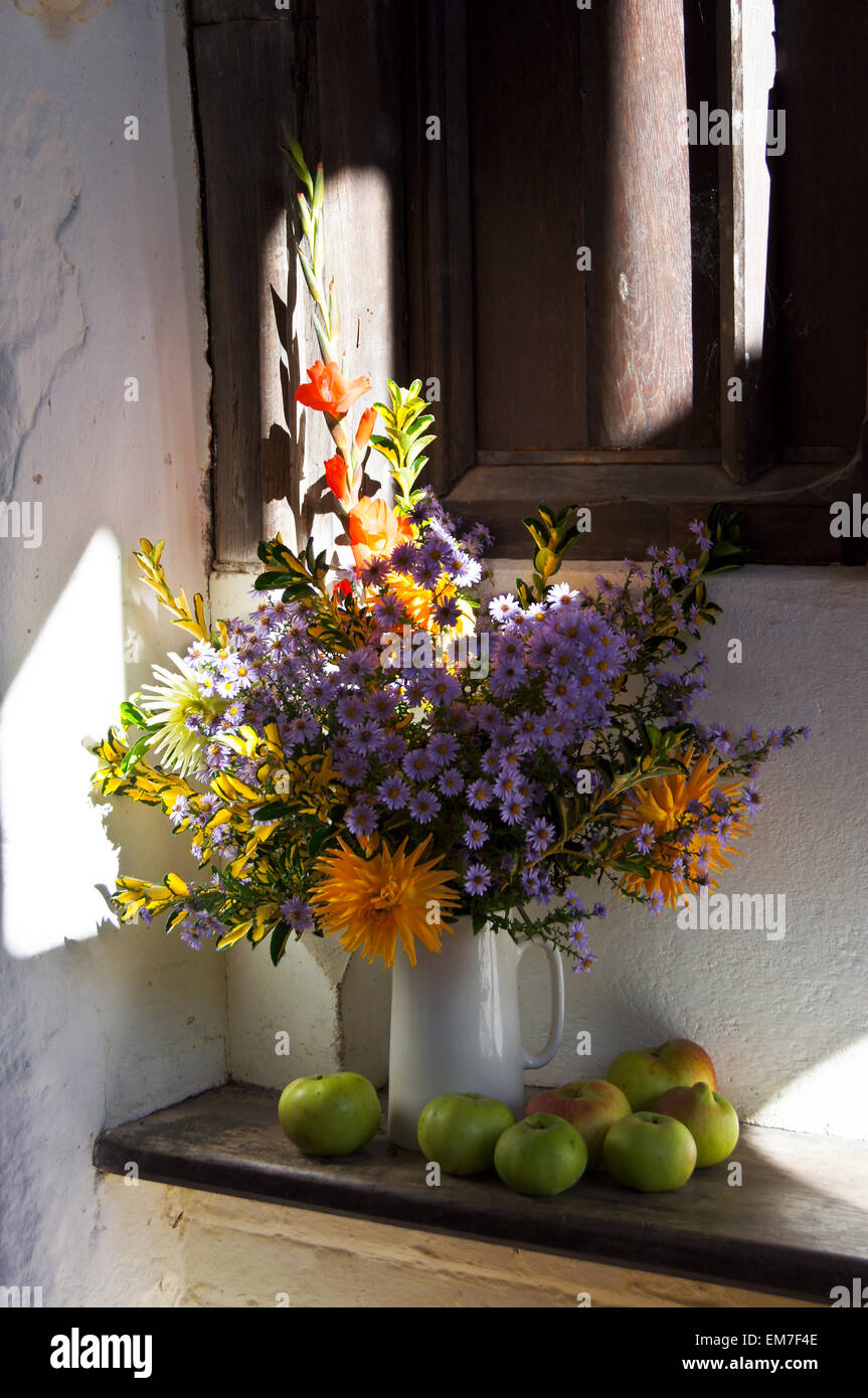 Harvest Festival Flower Arrangement In The Porch Of St