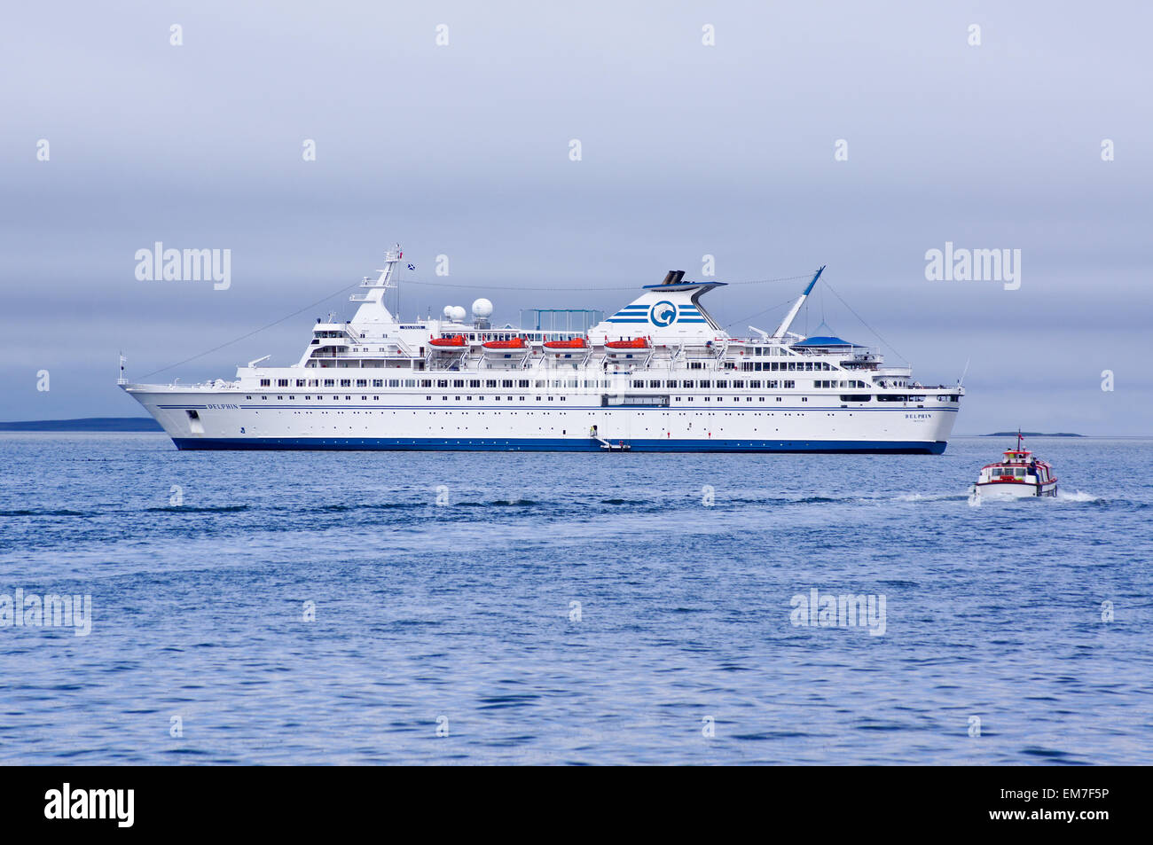 MS Delphin cruise ship ocean liner moored off Kirkwall harbour, Orkney, Scotland - Stock Image