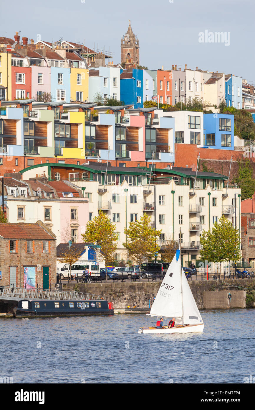 The colourful houses of Hotwells in Bristol. Cabot Tower is seen in the distance. - Stock Image