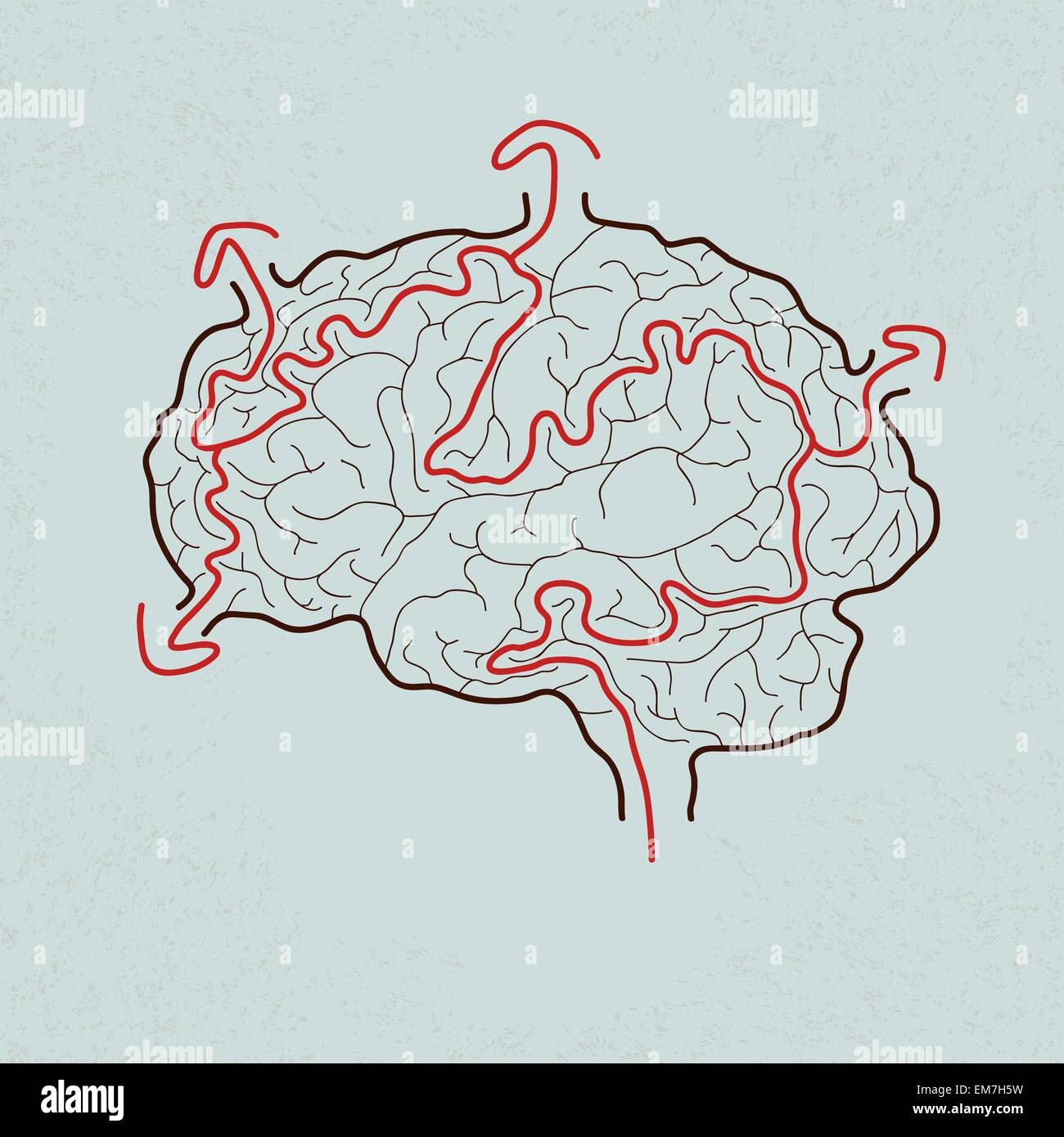 brain maze with correct path , Vector EPS10 - Stock Image