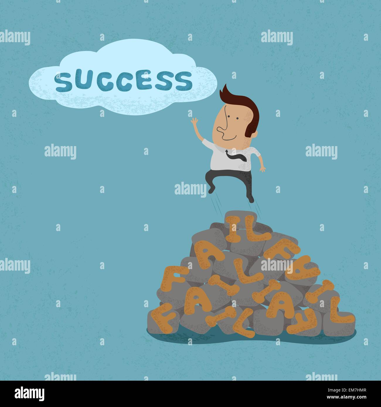 Business man jumping over the Failure go to success , symbolizin - Stock Image